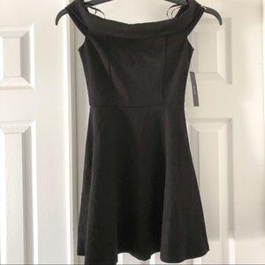 Lulus XS Black Off Shoulder Skater Mini Dress